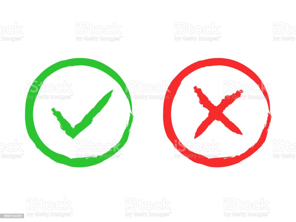 Tick And Cross Brush Signs Green Checkmark Ok And Red X ... X And Check Icon