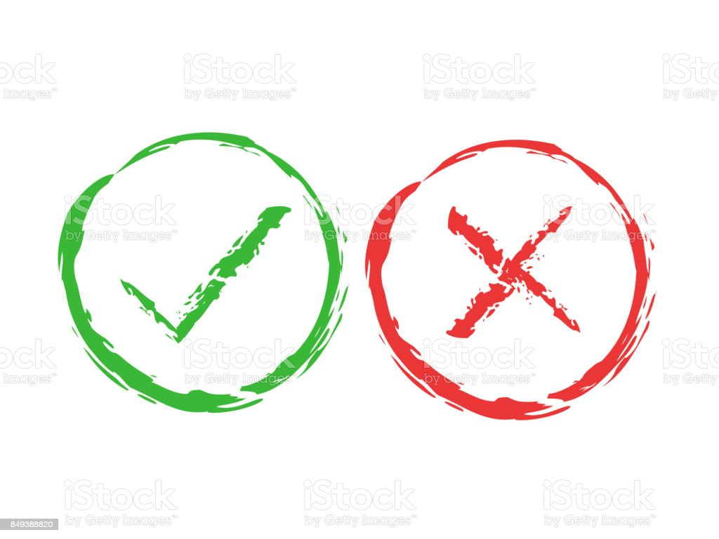 Tick and cross brush signs green checkmark ok and red x icons tick and cross brush signs green checkmark ok and red x icons isolated on buycottarizona Gallery