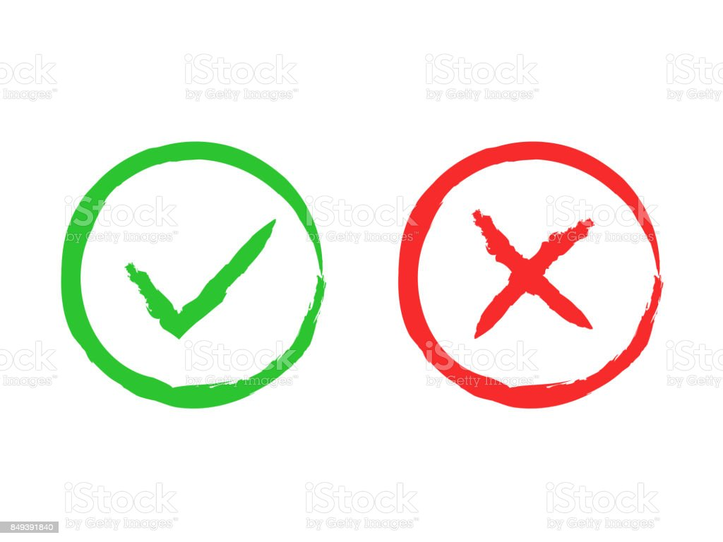 fff392fbe15 Tick and cross brush signs. Green checkmark OK and red X icons, isolated on