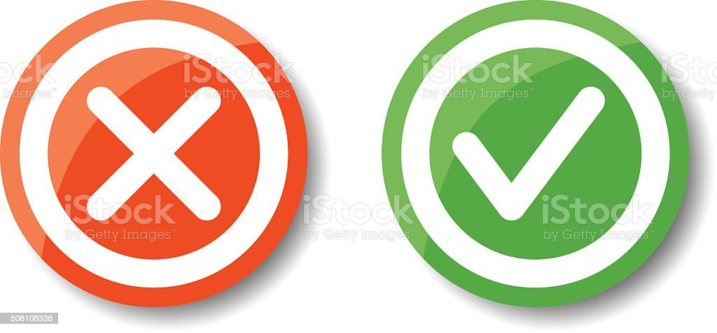 Tick and cross icons vector art illustration