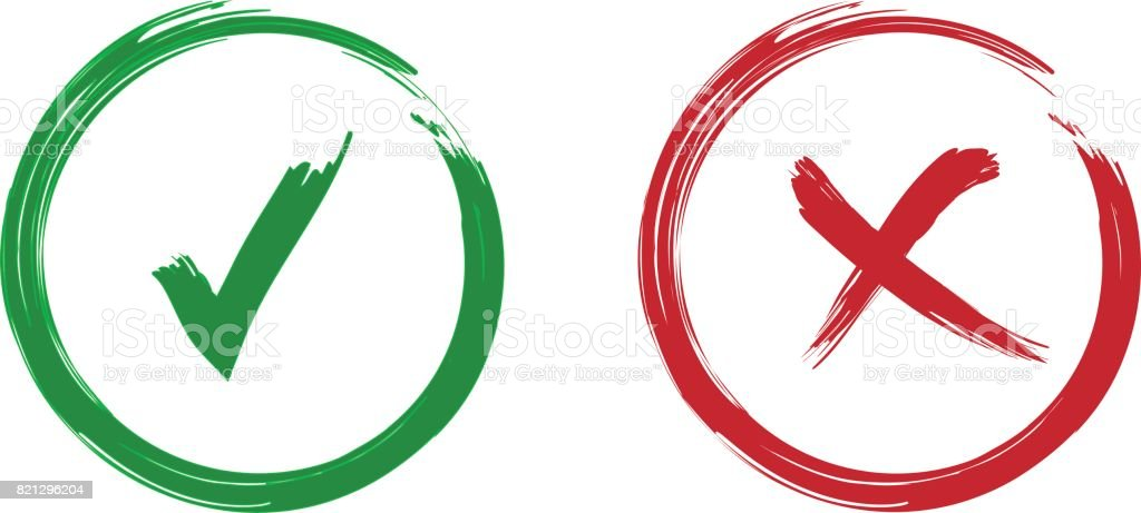 Tick and cross signs. Green checkmark OK and red X icons, isolated on white background. vector art illustration