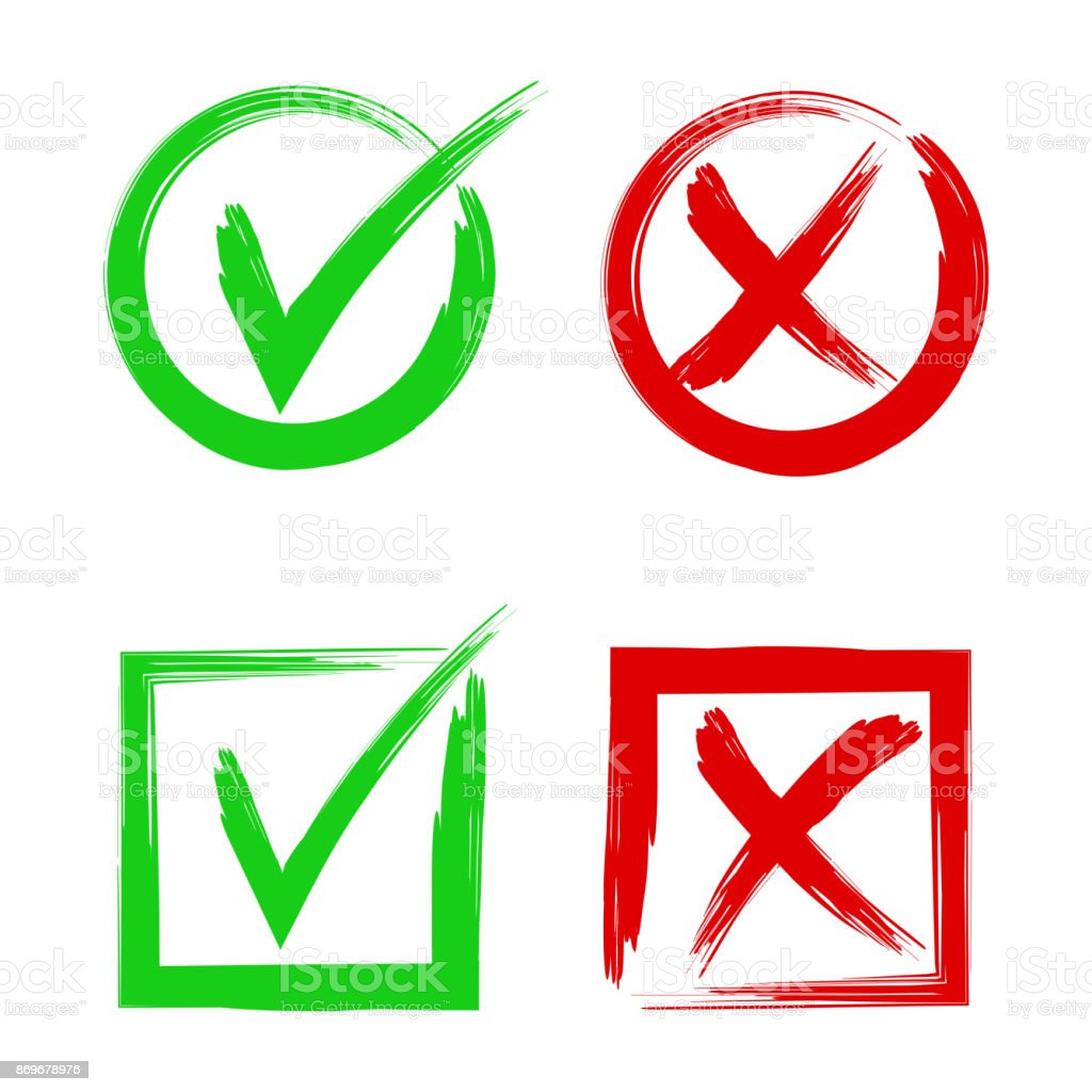 Tick and cross signs. Symbols yes and no, accept or decline symbol vector buttons. vector art illustration