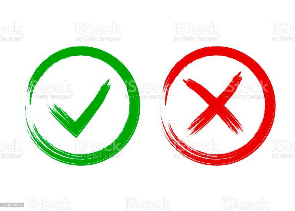 Tick And Cross Signs Symbols Yes And No Vector Illustration Stock