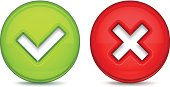 Glossy buttons with tick mark and delete mark.