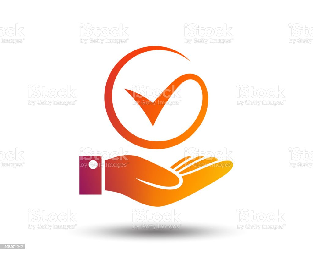 Tick And Hand Sign Palm Holds Check Mark Symbol Stock