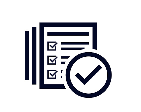 Tick check mark icon with document list with tick check marks with