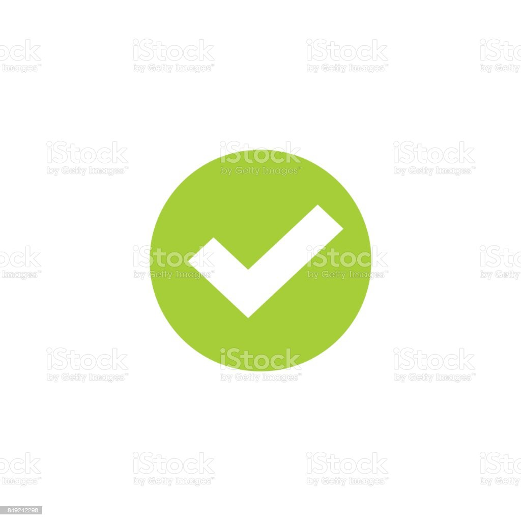 Tick icon in green circle vector symbol, green round checkmark isolated on white, checked icon or correct choice sign, check mark or checkbox pictogram vector art illustration
