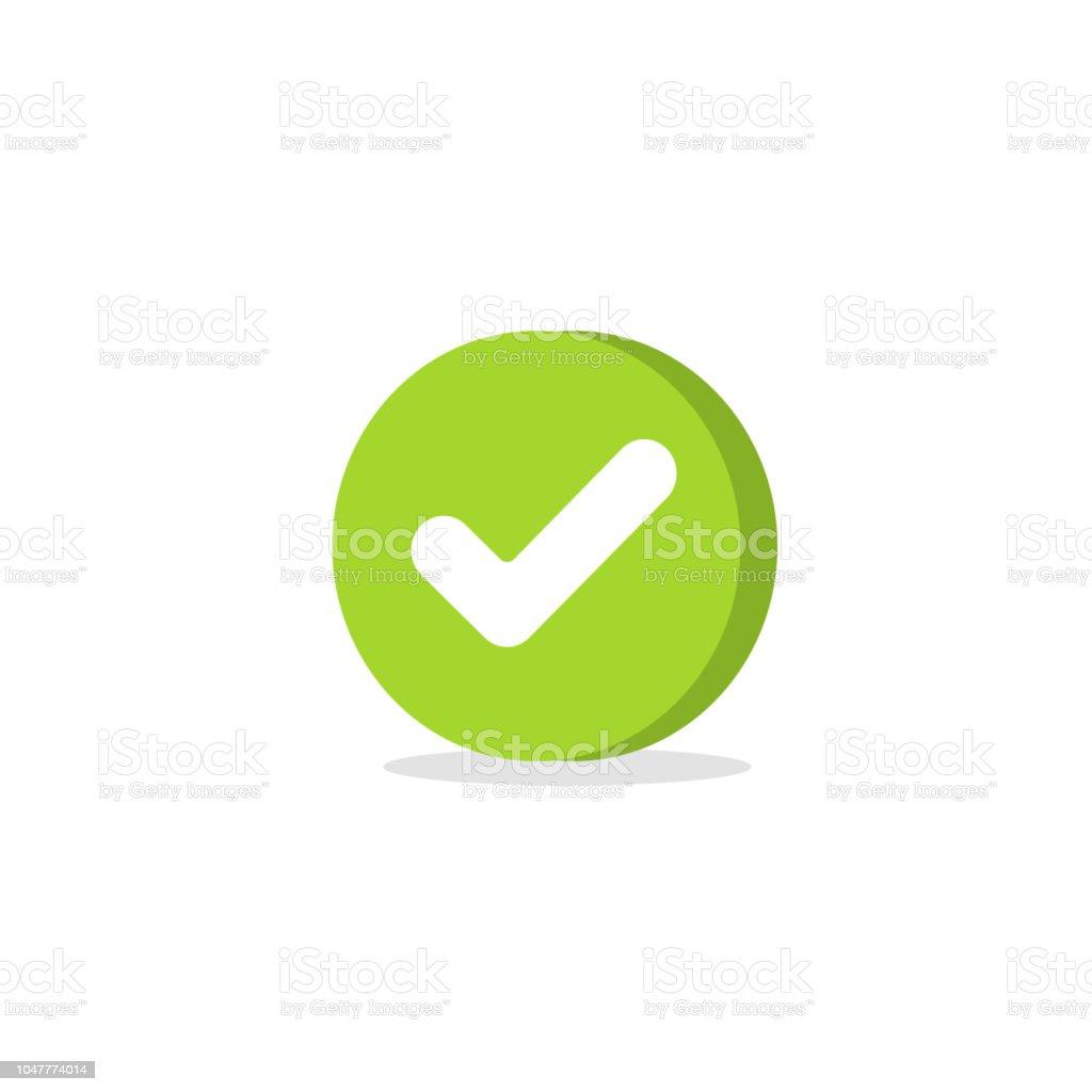 Tick-Symbol Vektor Symbol, Cartoon grün 3d Häkchen isoliert auf weiß, aufgegebenes Symbol oder die richtige Wahl anmelden, runde Form, check Mark oder Checkbox Piktogramm clipart – Vektorgrafik