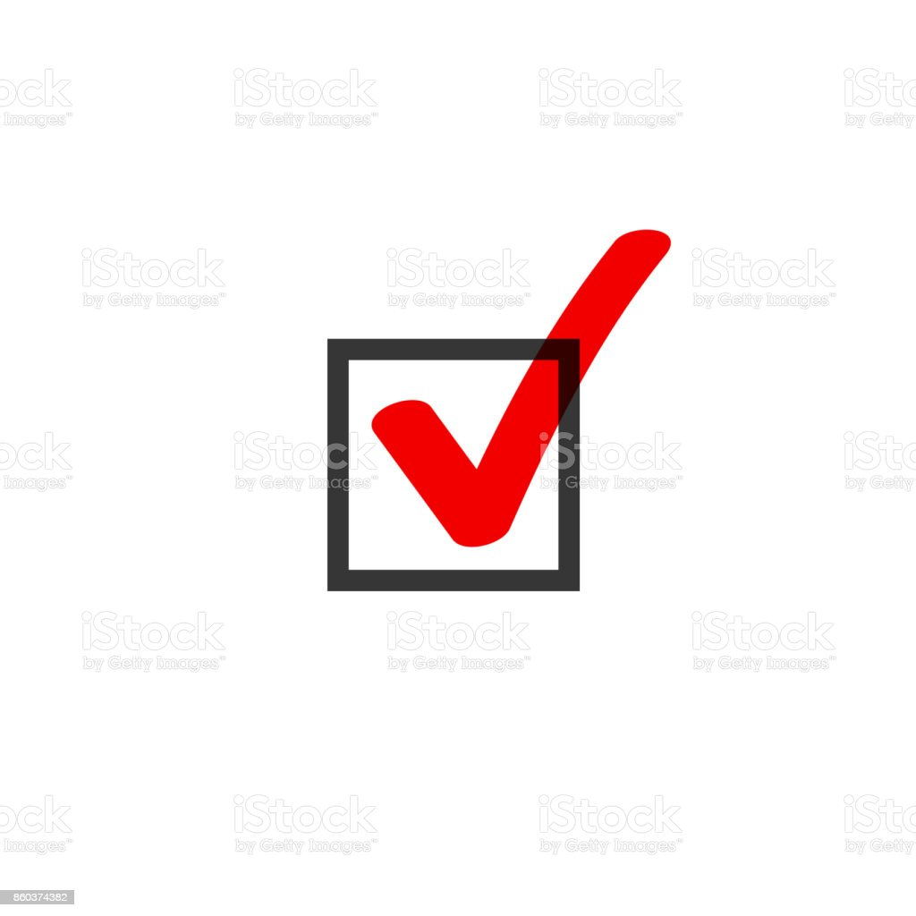 Tick icon vector symbol doodle style, red checkmark isolated on white background, checked icon, correct choice sign in black square, handwritten or drawn check mark or checkbox pictogram vector art illustration