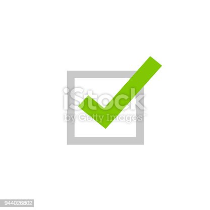 Tick icon vector symbol, flat cartoon green checkmark isolated on white background, checked or approve icon or correct choice sign, square check box mark or checkbox pictogram