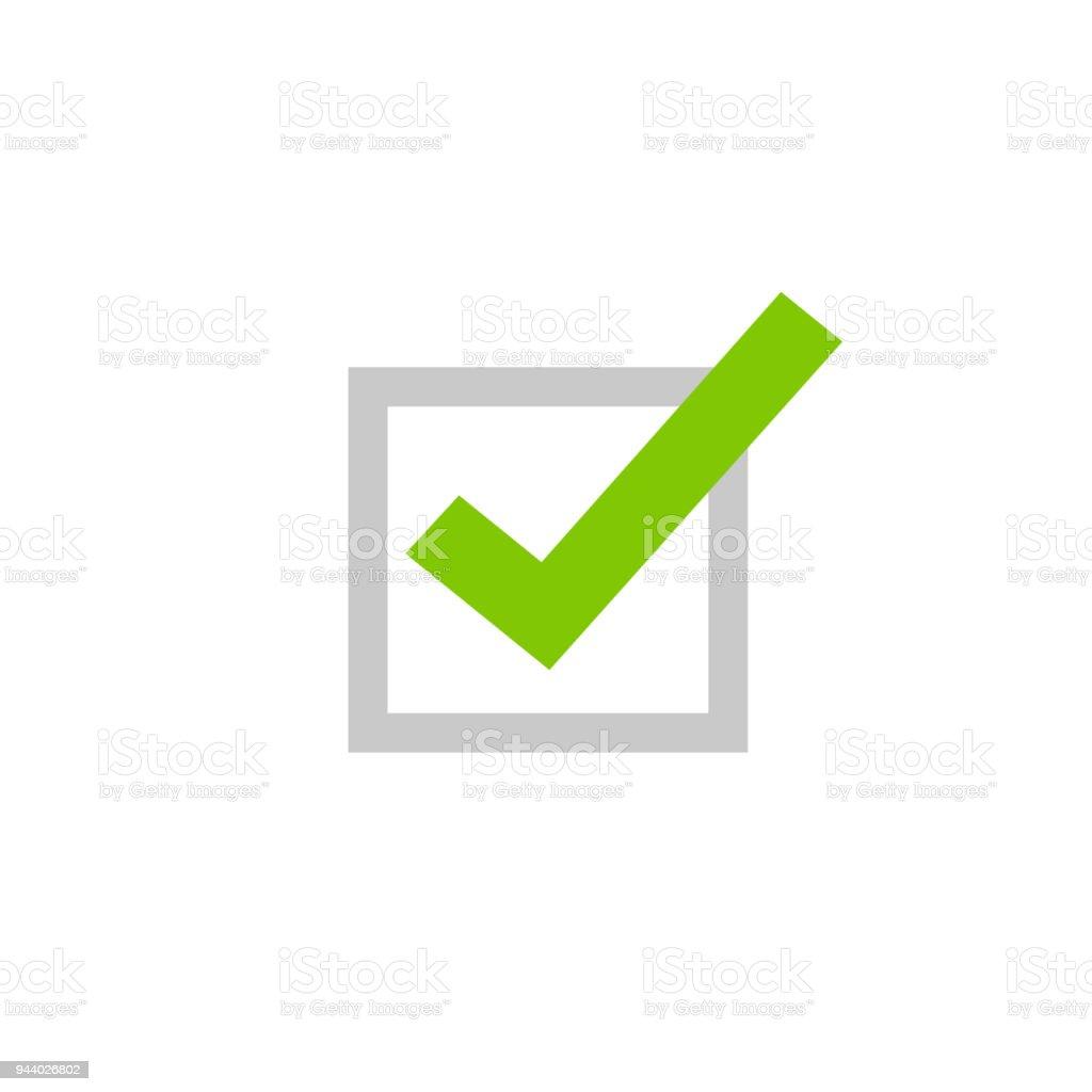 Kreuzen Sie Symbol Vektor Symbol, flach Cartoon grüne Häkchen isoliert auf weißem Hintergrund, überprüft oder zu genehmigen, Symbol oder richtige Wahl Zeichen, quadratische Kontrollkästchen markieren Checkbox Piktogramm – Vektorgrafik