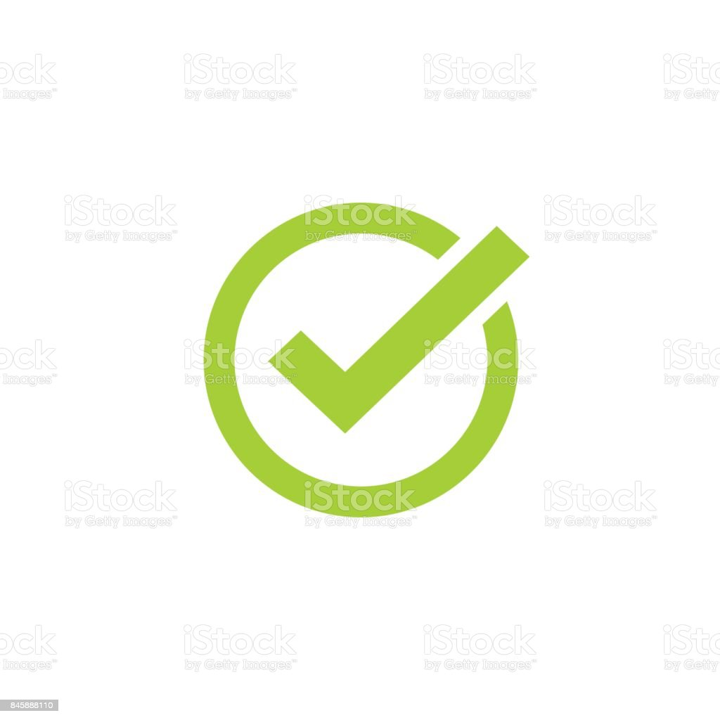Tick icon vector symbol, green checkmark isolated, checked icon or correct choice sign, check mark or checkbox pictogram vector art illustration
