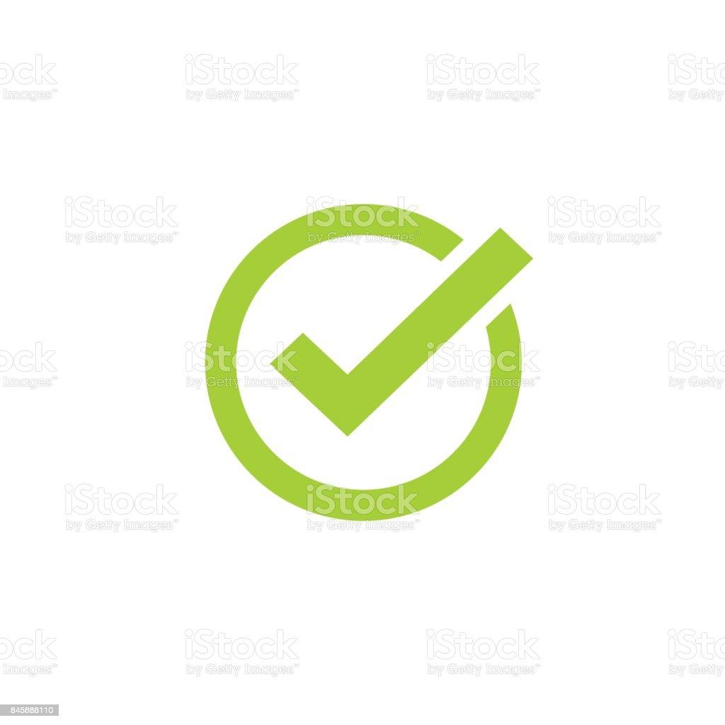 Símbolo de carrapato ícone vector, marca de seleção verde isolado, verifiquei ícone ou sinal de escolha correta, marca de verificação ou pictograma checkbox - ilustração de arte em vetor