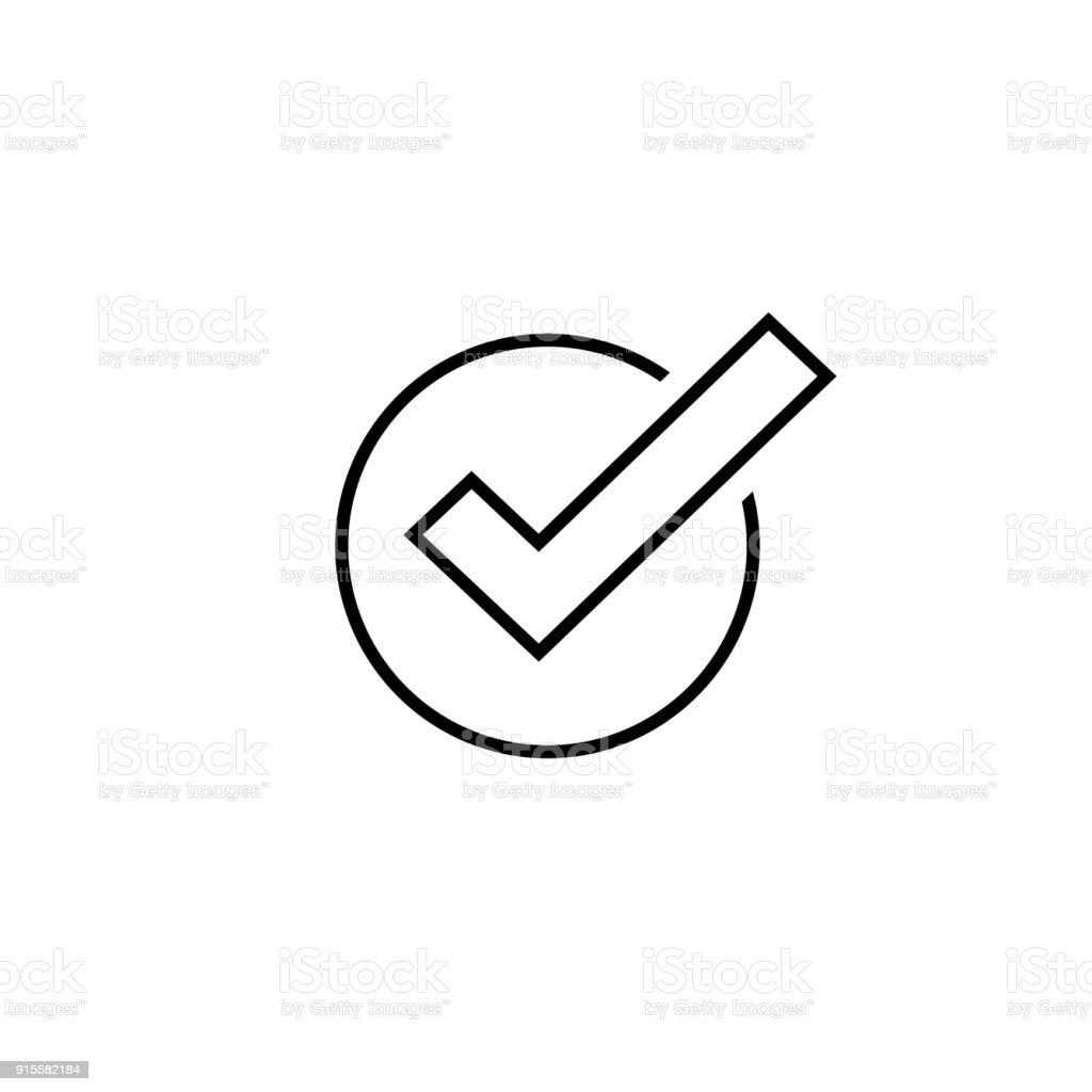 Tick-Symbol Vektor Symbol, Linie Kunst Umriss Häkchen isoliert, kontrolliert, Symbol oder Zeichen der richtigen Wahl, Häkchen oder Checkbox Piktogramm – Vektorgrafik