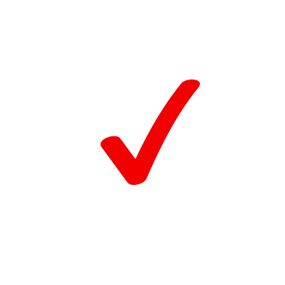 Tick icon vector symbol, marker red checkmark isolated on white, checked icon or correct choice sign doodle or handwritten style, check mark or checkbox pictogram