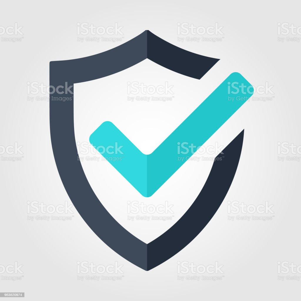 Tick mark approved icon. Shield vector on white background