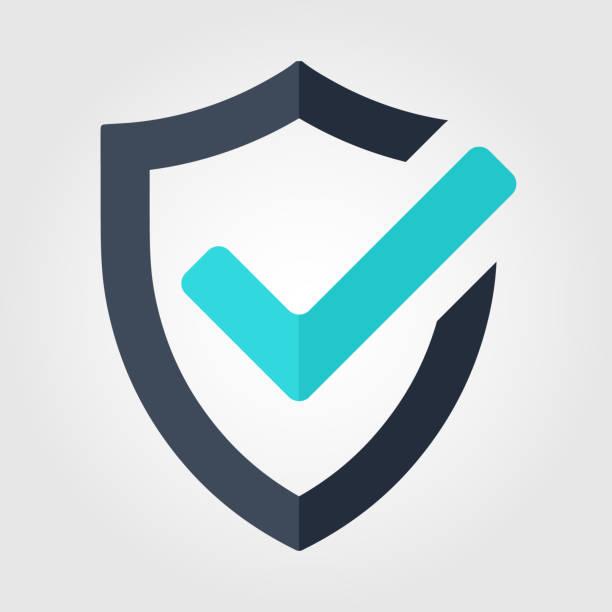 illustrazioni stock, clip art, cartoni animati e icone di tendenza di icona approvata del segno di graduazione. vettore scudo su sfondo bianco - protezione