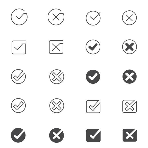 Tick mark icon set Tick mark icon set , vector illustration accuracy stock illustrations