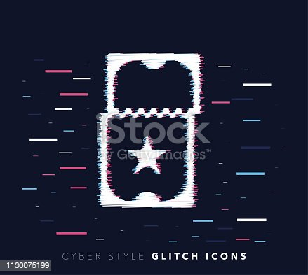 Glitch effect vector icon illustration of ticket accessibility with abstract background.