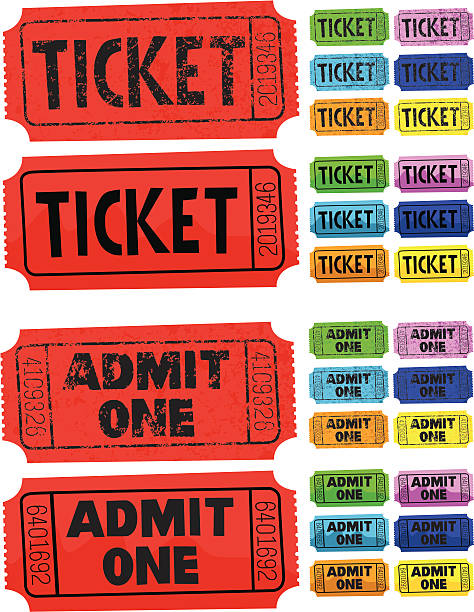 Ticket Admit One 2 kinds of old fashioned entry tickets admit one stock illustrations