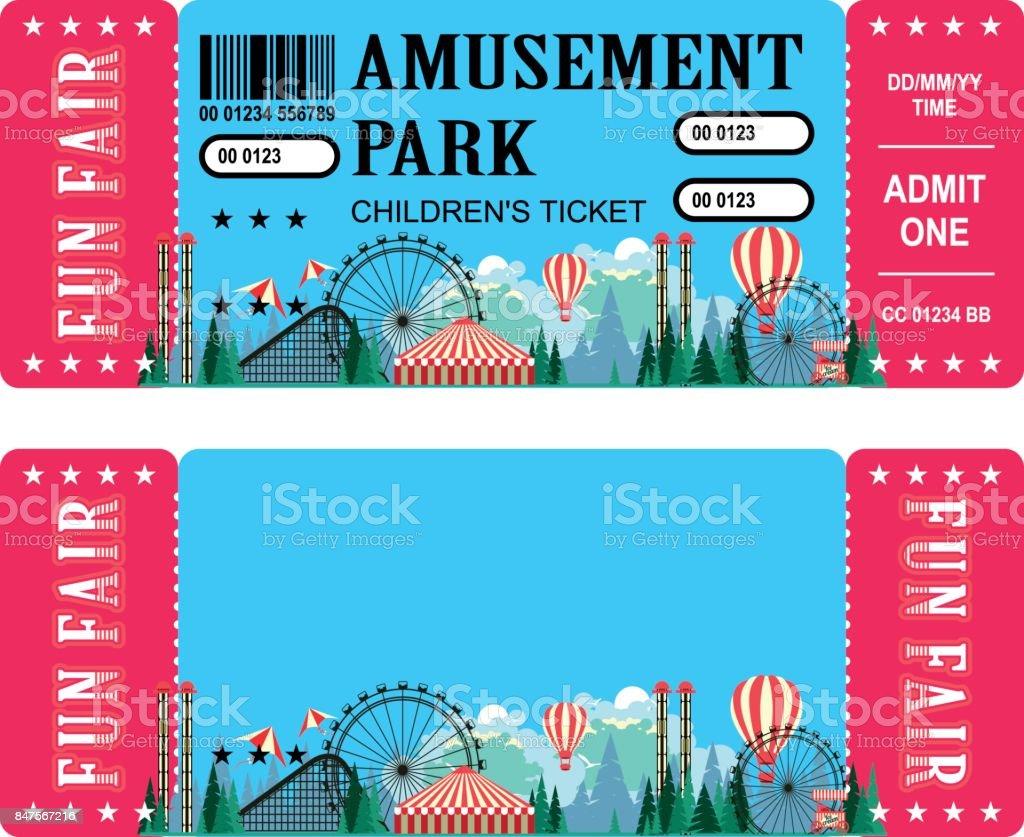 Ticket amusement park vector art illustration