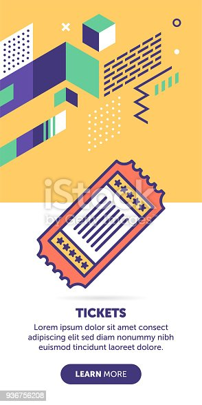 Ticket vector banner illustration also contains icon for the topic.