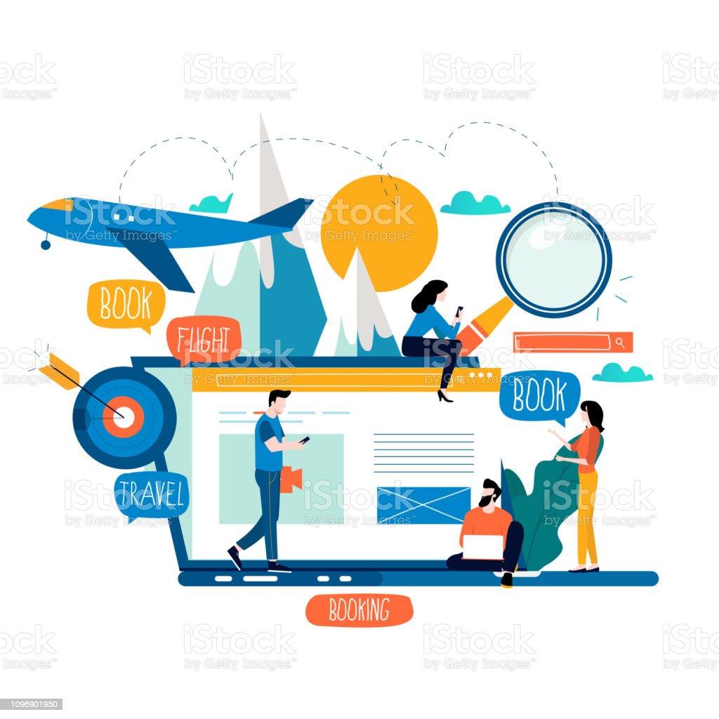 Ticket booking, book flight, buying tickets online vector art illustration