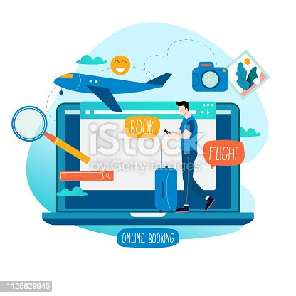 Ticket booking, book flight, buying tickets online flat vector illustration design. Travel concept for mobile and web graphics
