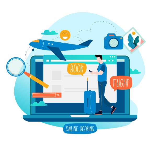 ticket-buchung, flug buchen, tickets online zu kaufen - reisebüro stock-grafiken, -clipart, -cartoons und -symbole