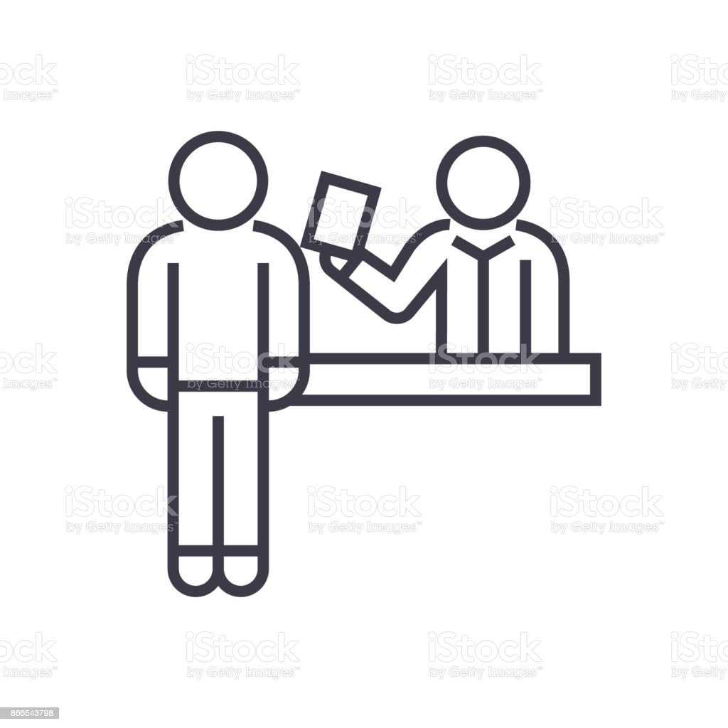 Ticket Booking Office Linear Icon Sign Symbol Vector On Isolated Background Royalty