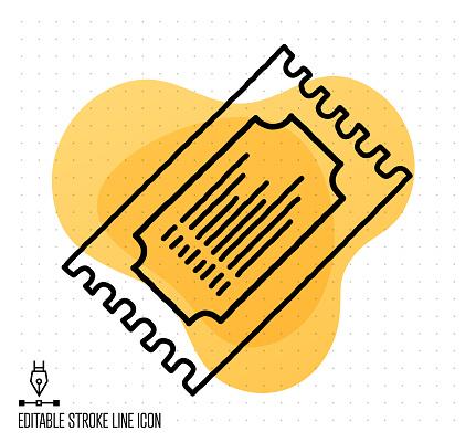 Ticket Booking Vector Editable Line Illustration