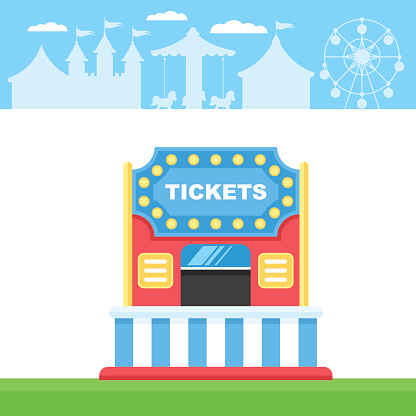 Ticket cart or booth in carnival festival
