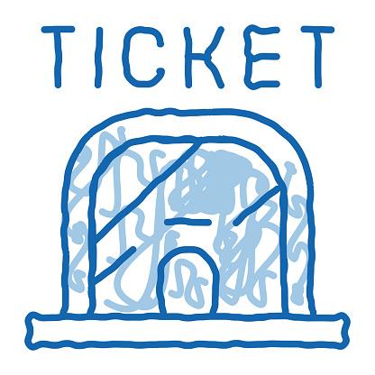 Ticket Casa doodle icon hand drawn illustration