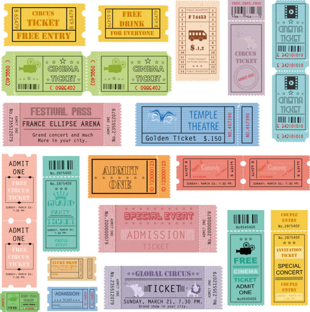 Ticket Collection easy to edit vector illustration of ticket collection movie ticket stock illustrations