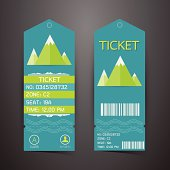 Ticket Design Template. Concept of Mountain Park