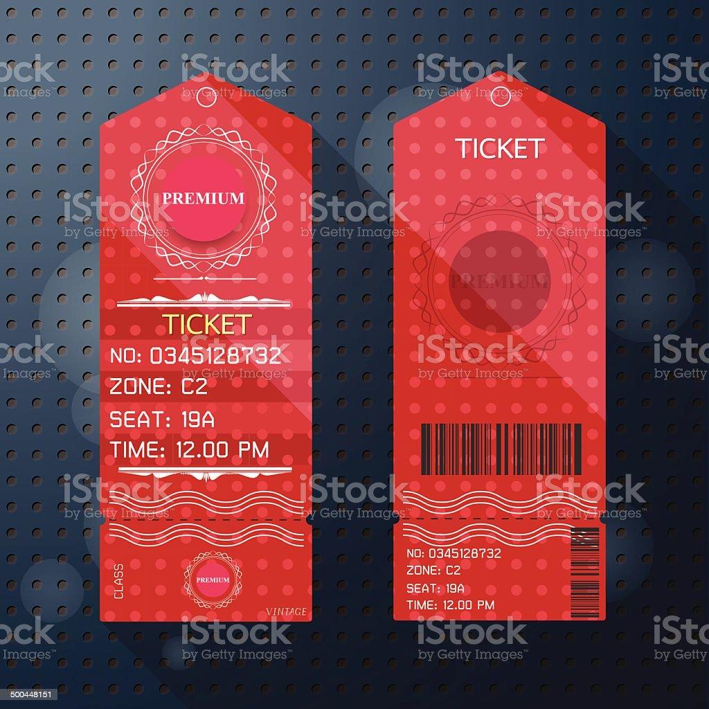 Bilet Szablon Projektu W Stylu Retro Wysokiej Klasy Stockowe