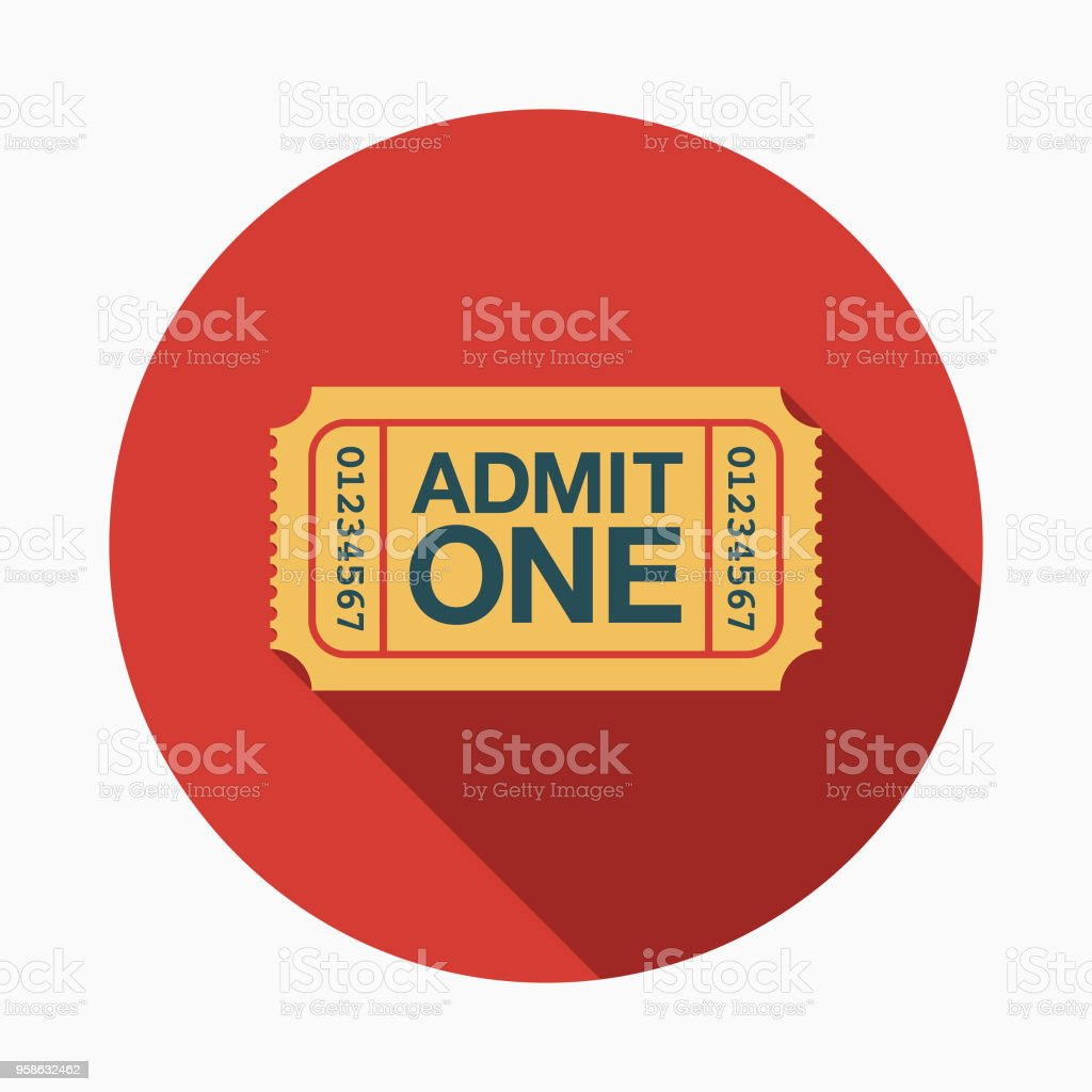 Ticket Flat Design Arts Icon with Side Shadow vector art illustration