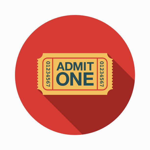 Ticket Flat Design Arts Icon with Side Shadow A colored flat design fine arts icon with a long side shadow. Color swatches are global so it's easy to edit and change the colors. admit one stock illustrations