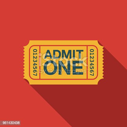 Ticket Flat Design Carnival Icon with Side Shadow