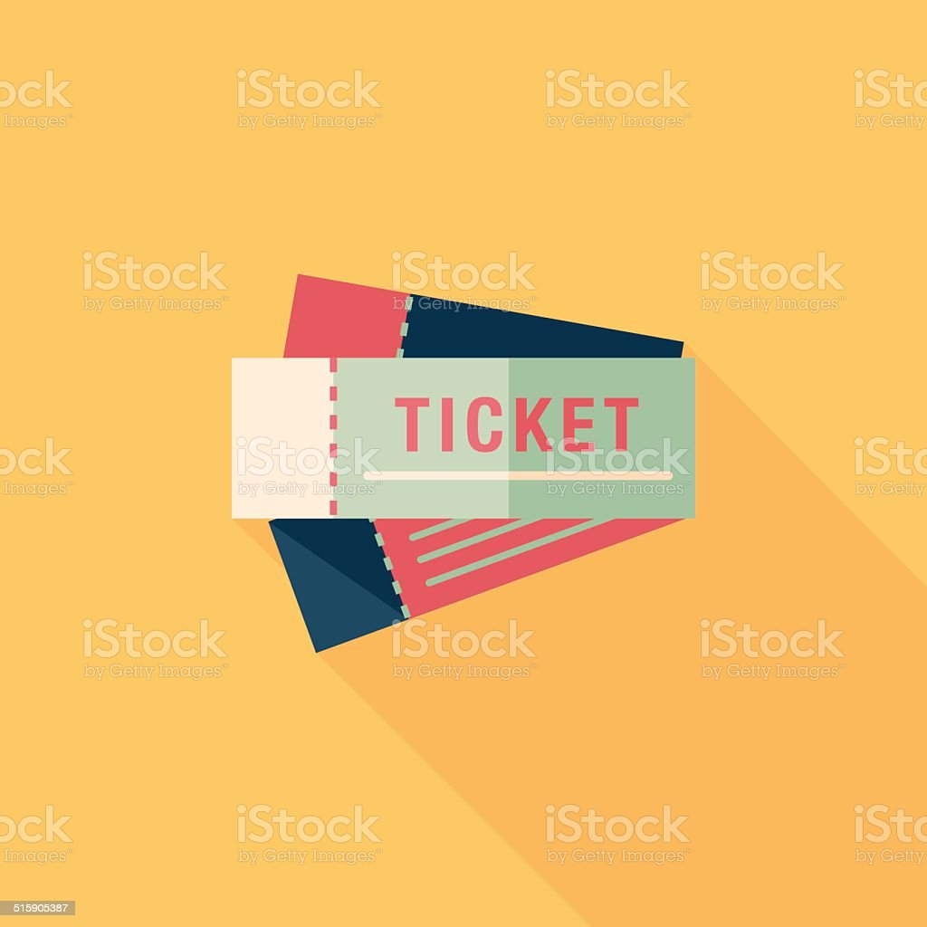 Ticket flat icon with long shadow vector art illustration