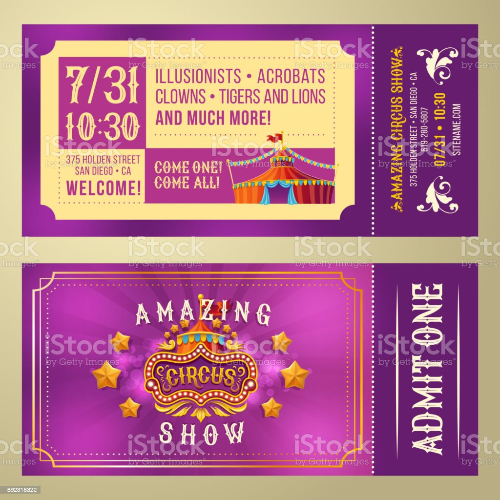 Ticket for admission to circus show vector art illustration