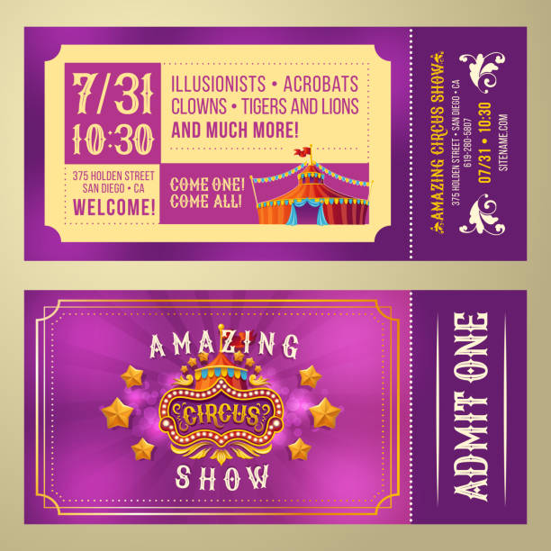 Ticket for admission to circus show Ticket for admission to an amazing circus performance, show, invitation card, front and back, vector cartoon illustration. Purple Vintage Flyer admit one stock illustrations
