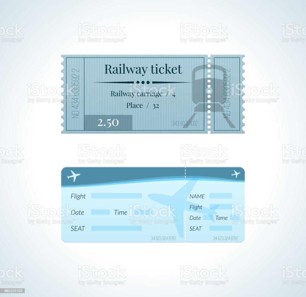 Ticket für Zug und eine Fahrkarte für eine Flugreise – Vektorgrafik