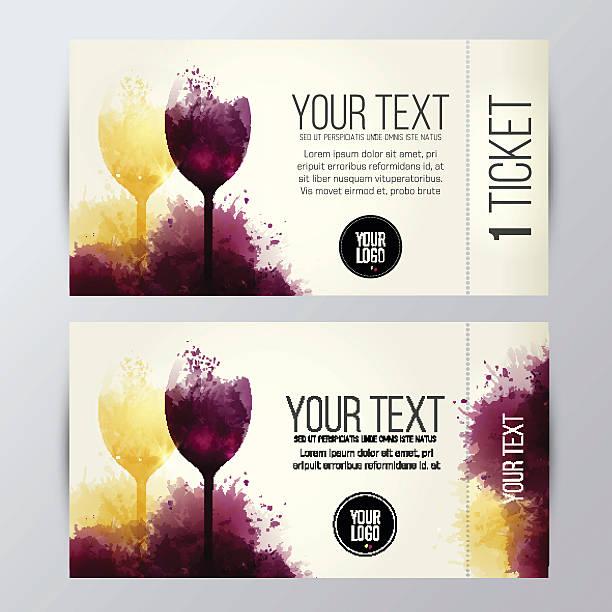 ticket for wine promotion - weinkarte stock-grafiken, -clipart, -cartoons und -symbole