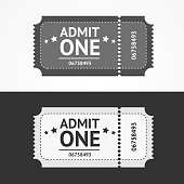 Ticket Icon Blank Admit Set. Vector