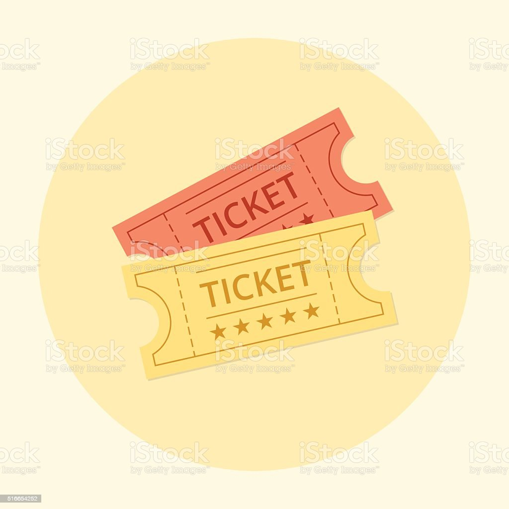 Ticket icon in the flat style. vector art illustration