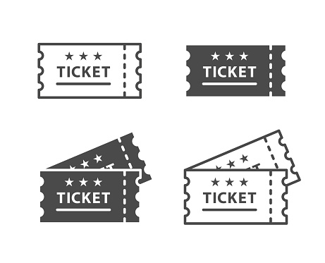 Ticket Icon on Black and White Vector Backgrounds