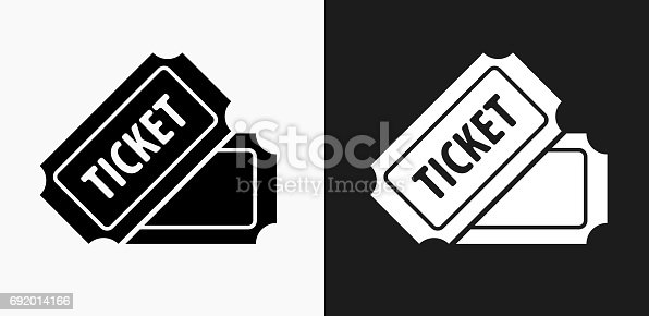 Ticket Icon on Black and White Vector Backgrounds. This vector illustration includes two variations of the icon one in black on a light background on the left and another version in white on a dark background positioned on the right. The vector icon is simple yet elegant and can be used in a variety of ways including website or mobile application icon. This royalty free image is 100% vector based and all design elements can be scaled to any size.