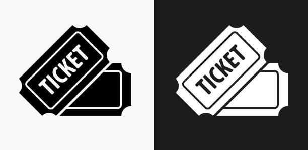 illustrations, cliparts, dessins animés et icônes de icône de billet sur noir et blanc vector backgrounds - billet