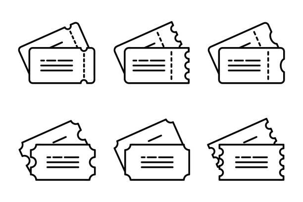 티켓 아이콘입니다. 티켓 기호 의 집합입니다. 웹 사이트, 모바일 응용 프로그램에 대한 얇은 선형 그래픽 그림. 템플릿 티켓 및 쿠폰 컬렉션, 벡터 일러스트레이션 - 티켓 스텁 stock illustrations